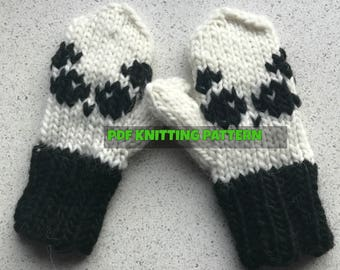 PANDA mittens for kids (aged 5-10 years) knitting PDF pattern