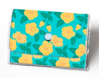 Vinyl Accordion Wallet - Tropical Summer3 /  pineapples, summer, blue, small wallet, snap, cute, card case, vinyl wallet, women's, floral