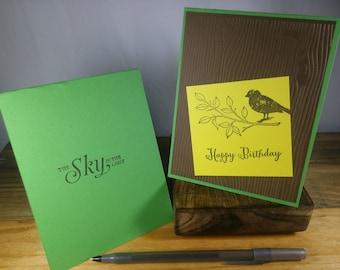 Happy Birthday Bird and Branch Card, Masculine Birthday Card, Brown and Green Birthday Card, Masculine Brown and Green Birthday Card