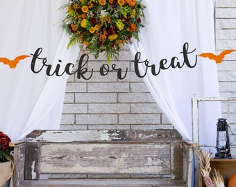 TRICK or TREAT Halloween Banner, Halloween Sign, Halloween Decoration, Fall Decor, Autumn Decor, Halloween Party, Fall party decor