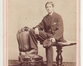 """1920's Cabinet Card Photograph """"His Very Self"""""""