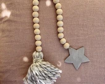 Mini Garland Roman wooden and wool - nursery accessories - Decoration wood, Boho, Tassel garland, star, tassel Bohemian