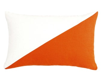"12""X20"" Cream & Persimmon Orange Rectanuglar / Oblong / Lumbar / Cushion / Throw Pillow Cover"