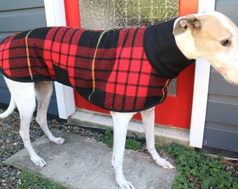 tartan checks in red and black...winter coat for a greyhound in vintage wool blanket and polar fleece