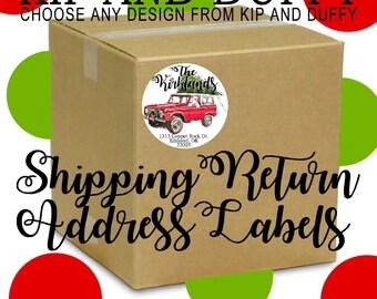Jumbo Shipping Return Address Labels, Large Christmas Return Address Labels, Choose any design