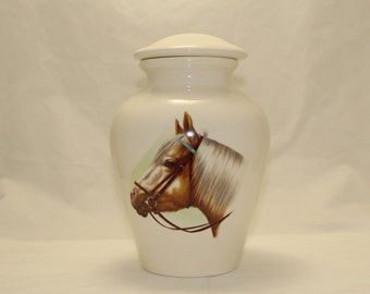 Cremation Urn with Horse Ceramic Jar with Lid,Large Urn, large jar, art pottery, handmade