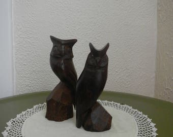 Vintage Ironwood Carved Horned Owl Figurine Set