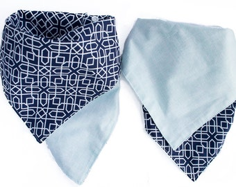 Mint and Blue Baby Bandana Bib - Baby Bibs-  Bandana Bibs for Boys - Drool Bibs for Babies - Reversible Bibs - Baby Shower Gifts - Teething