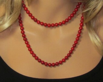 Long Red Necklace - Red Bead Necklace - Single Wrap - Double Wrap