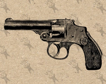 Vintage Gun Revolver Instant Download picture Digital printable clipart graphic for stickers, scrapbooking, t shirt, prints etc HQ 300dpi