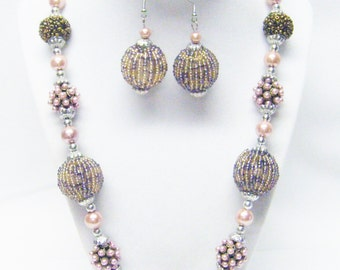 Funky Chunky Assorted Novel Beaded Necklace & Earrings Set