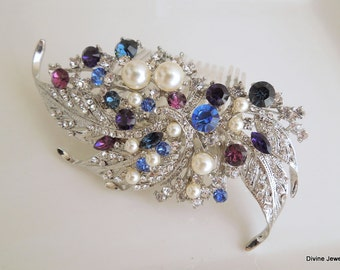 Blue Swarovski Crystal and Pearl Wedding Comb Wedding Hair Accessories Vintage Style blue wedding hair comb Bridal Hair Comb Pearl hair ETTA