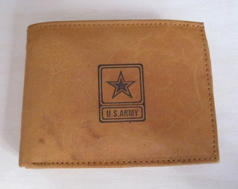 """Mankind Wallets Men's Leather RFID Blocking Billfold w/ """"United States Army"""" Image~Makes a Great Gift!"""
