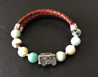 Class C Motorhome Bracelet, Amazonite Bracelet, Leather Bracelet, Motorhome Charm, Gift for RVer, Wrap Bracelet, 99013