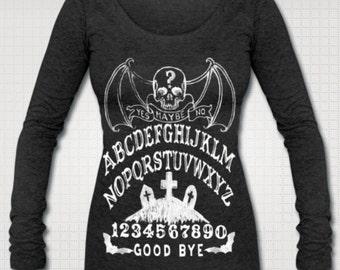 Mysterious Ouija Skull Long Sleeve Shirt