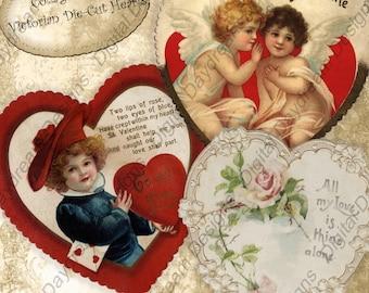 Instant Download Printable Collage Sheet - Valentine - Victorian Die-Cut Hearts