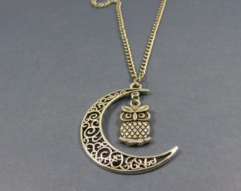 OWL necklace - bird owl necklace - owl moon gift - Owl Moon necklace