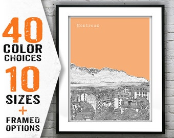 Montreux Switzerland Skyline Poster Art Print Item T1492