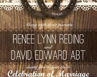 Rustic Horseshoe Wedding Invitation, Horseshoe Wedding Invitation, Country Wedding Invitation