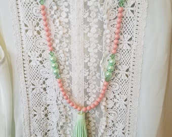 Mint Green Glass Pearls with Mint GreenTassel and light coral Colored 8mm Swarovski Pearls Necklace and Earring Set