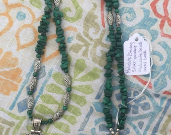 Malachite Sterling Silver Pendant with Malachite and Metal Beads