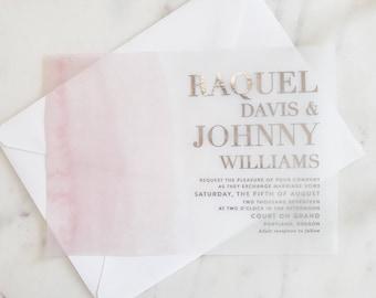 Davis Invitation Suite | Translucent Vellum with Rose Gold Foil + Blush Pink Watercolor Splash {customizable}