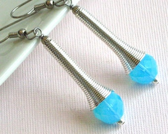 Blue Crystal Earrings - Silver Spiral, Czech Glass