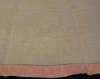 vintage tea towel, pink and white damask