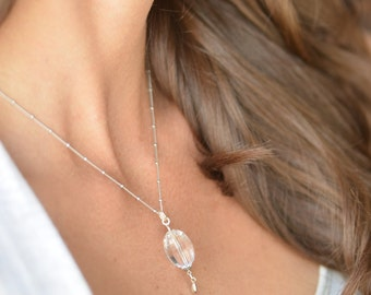 Faceted Oval Rock Crystal bali style sterling silver necklace   gifts for her