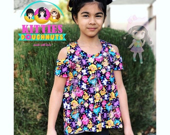 Kitties and Doughnuts Cold shoulder top. 2t-12y.