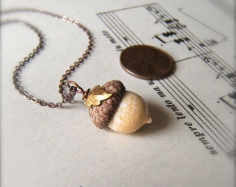 Mini Glass Acorn Necklace - Autumn Ivory with Leaf by Bullseyebeads