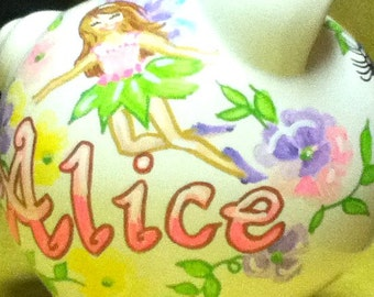 Personalized Handpainted  Fairy Piggy Bank with Pastel Flowers