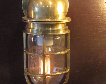 Vinatge Brass Thick bent Bulkhead Light fixture - Ship Salvaged-  Restored, Rewired and Ready for use