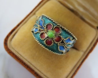 Blue Enamel Ring - Stacking Band Ring Pink Flower and Grapes, Size 6.5 Vintage Rings for Women
