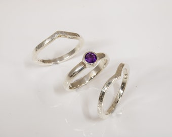 Hand Made Silver wishbone Stack Rings Set with 4mm Amethyst
