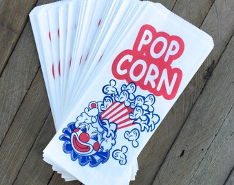 100 Red, White and Blue Retro Clown Paper Popcorn Bags- Carnival, Movie Night or Birthday Party Supply