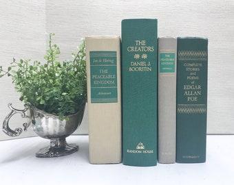 Green Vintage Books for Shelf Decor, Modern Farmhouse Decor