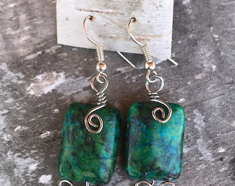 Chrysocolla Earrings with Silver Wire