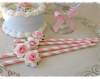 Birthday Decoration Mother's Day Shabby Chic Pink Straws for Birthday Party Birthday Ornament  Set of Six for Tea Party.