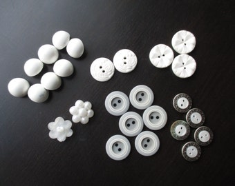 Vintage Buttons: Pearl, White, Grey