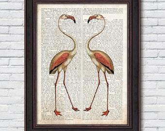 Flamingos Dictionary Prints, Flamingo Wall Art, Flamingo Print, Dictionary Art, Home Decor - DI008