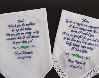Embroidered Wedding Handkerchief Mother & Father of the Bride PARENTS GIFT, Set of two Wedding Gifts for Mom and Dad, hanky,LS0F38