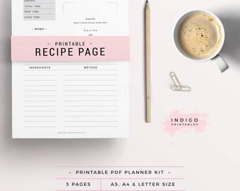 Printable Recipe Card, Printable Recipes, Recipe Binder, Recipe Organizer, Recipe Card Template, Recipe Book Refill, Recipe Cards, Cookbook