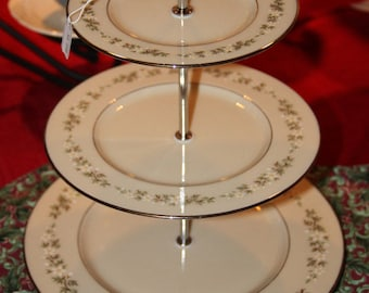 Vintage Lenox  Brookdale 3 Tiered Plate,  Tiered Stand, Cake or Cupcake Stand,  Tea Party Serving Tray, Wedding Table, Bridal Shower