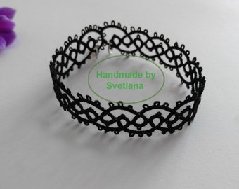 Tatted Lace Black Bracelet - Jeanette