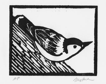 A Linocut Print of a Nuthatch, Signed