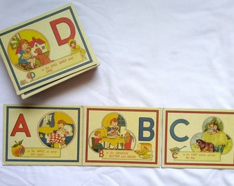 Vintage Alphabet Flash Cards Lot, c. 1940s, 1950s, Cardboard, Thick, Heavy, Baby Decor