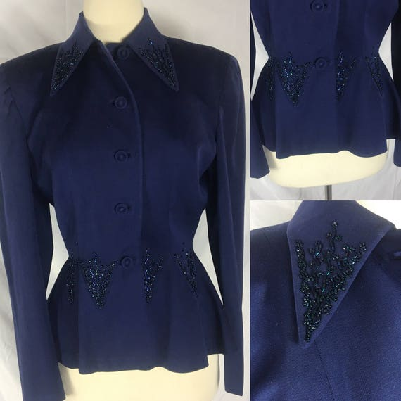 RESERVE Gradiva 89 Vintage 1940s Dark Blue Beaded Julliard Wool Womens Jacket for Maxines of Pittsburgh Small Medium