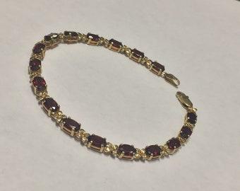 Vintage Mexico 14K Yellow Gold Oval Cut Garnet Tennis Bracelet