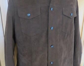 vtg mens shirt jac jacket faux suede rockabilly